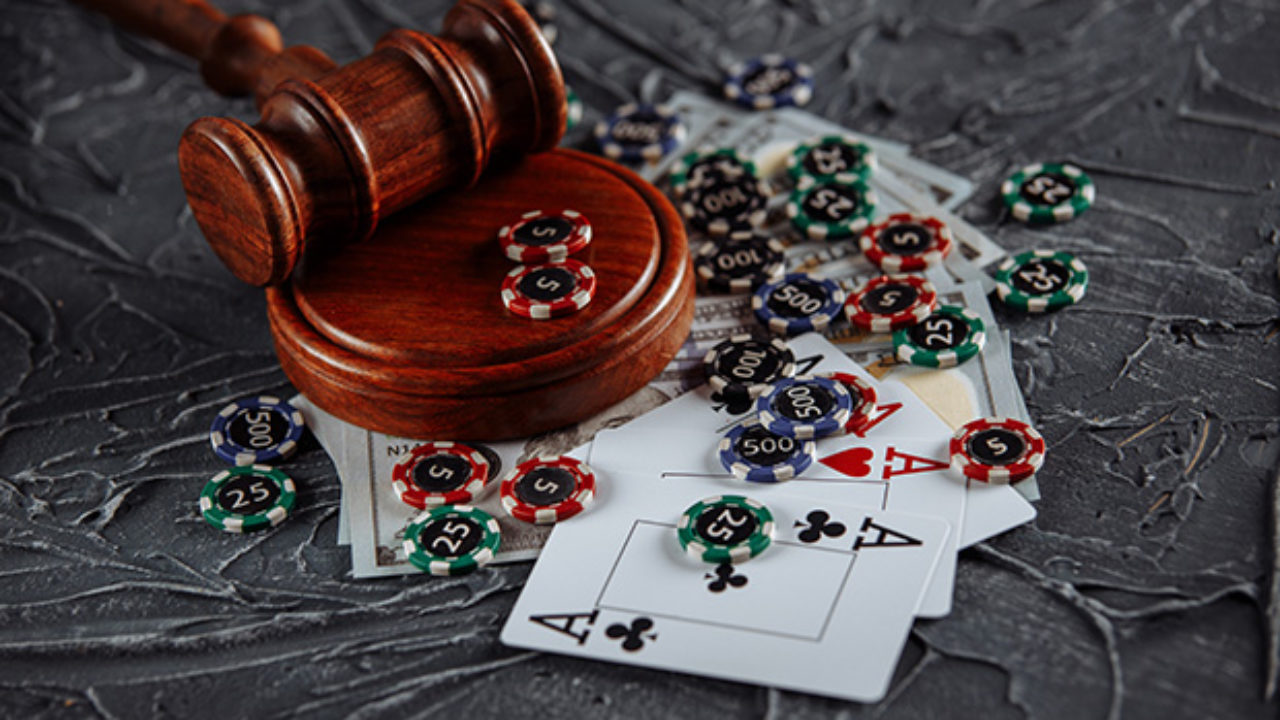 Betting chips on a gavel
