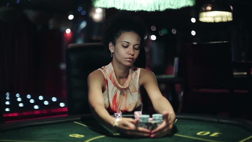 Woman with poker chips